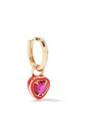 ALISON LOU Heart 14kt & Enamel Single Earring