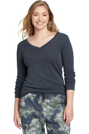 Eddie Bauer Damen Longsleeves - Favorite Shirt - Langarm mit V-Ausschnitt Damen Gr. L