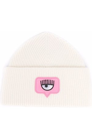 Chiara Ferragni Damen Hüte - Gerippte Beanie mit Logo-Patch