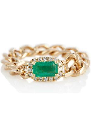 SHAY Jewelry Ring Baby Link aus 18kt Gelbgold mit Smaragd und Diamanten