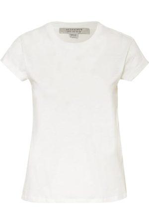 AllSaints Damen T-Shirts, Polos & Longsleeves - Gerader Schnitt. Rundhalsausschnitt. Fixierte Umschläge an den Ärmelenden