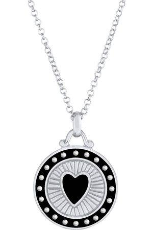 Elli Damen Halsketten - Halskette Herz Symbol Anhänger Emaille 925 Sterling in , Schmuck für Damen