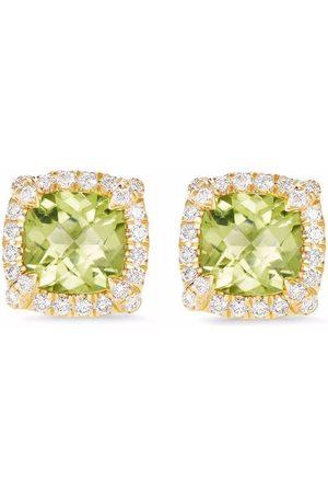 David Yurman Damen Ohrringe - Petit 18kt Chateleine Gelbgoldohrstecker mit Peridot und Diamanten