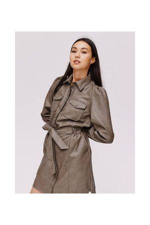 Promod Damen Freizeitkleider - Blusenkleid in Lederoptik