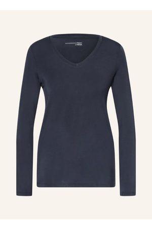 Schiesser Damen Schlafanzüge - Gerader Schnitt. V-Ausschnitt. Lange Ärmel. Atmungsaktiv. Jerseyqualität