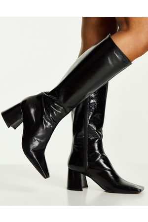 Topshop – Tula – Kniehohe Stiefel aus Leder in