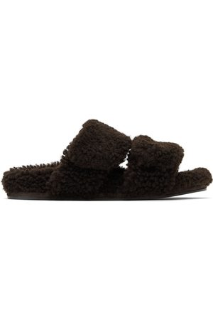Dries Van Noten Brown Shearling Platform Slide Sandals