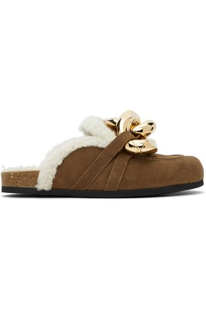JW Anderson Brown Shearling Chain Loafers