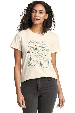 Eddie Bauer Damen T-Shirts, Polos & Longsleeves - Graphic Shirt - River Mountain Damen Natur Gr. XS