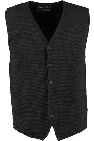 BLUEFIELDS Solide schlanke Fit Gilet Baumwolle dunkel grau braun Mischung - fällt 2 Größen kleiner