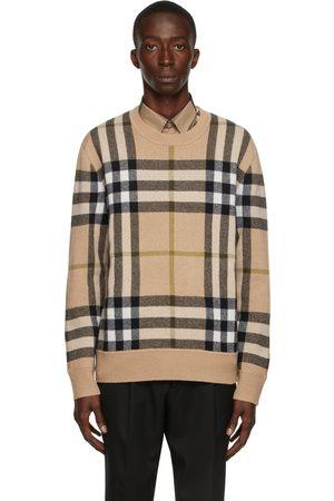 Burberry Beige Cashmere Check Jacquard Sweater