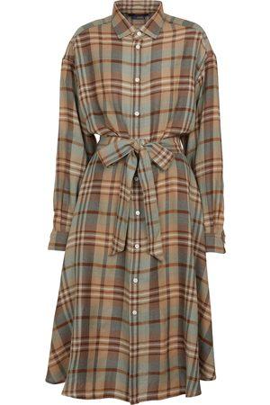 Polo Ralph Lauren Kariertes Hemdblusenkleid aus Wolle