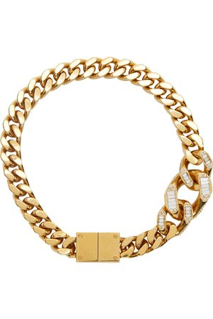 Burberry Gold Crystal Detailed Curb Chain Necklace