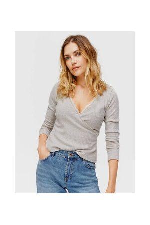 Promod Damen T-Shirts, Polos & Longsleeves - Geripptes Wickelshirt