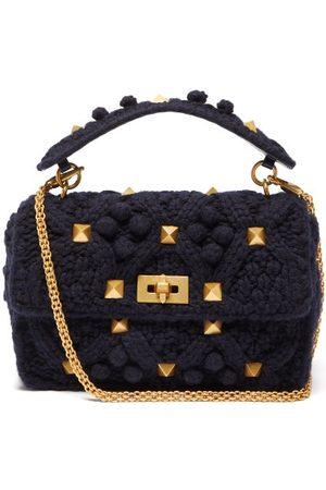 VALENTINO GARAVANI Roman Stud Knitted Cashmere Shoulder Bag