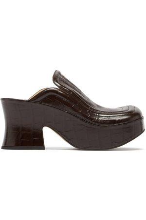 Bottega Veneta Wedge Crocodile-effect Leather Clogs