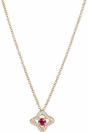 David Yurman 18kt Venetian Quatrefoil Gelbgoldhalskette mit Diamanten