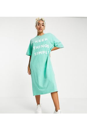 Native Youth – Super Oversize Midi-T-Shirt-Kleid mit Simple-Print in Vintage-Waschung