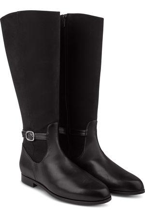 LaShoe Damen Overknees - Stiefel Materialmix mit Schnalle 36