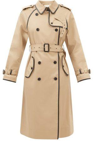 Saint Laurent Leather-piping Gabardine Trench Coat