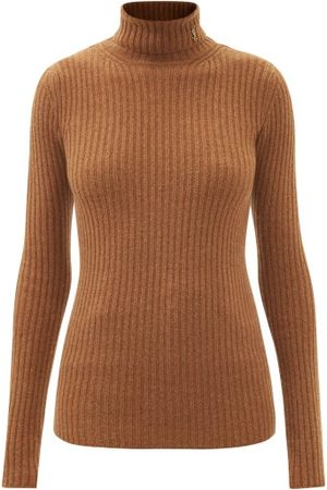 Saint Laurent Ysl-plaque Roll-neck Ribbed Wool-blend Sweater