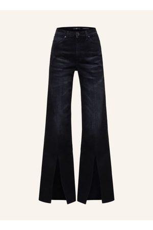7 for all Mankind Damen Bootcut - Hohe Leibhöhe. Ausgestelltes Bein. Zip-Fly-Verschluss. 5-Pocket-Style. Leder-Badge am Bund. Schlitze an den Beinabschlüssen