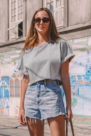 Cupshe Damen T-Shirts - Kurzarm-Sweatshirt