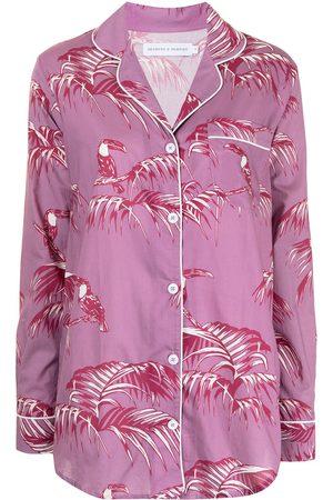 Desmond & Dempsey Pyjama mit Baum-Print