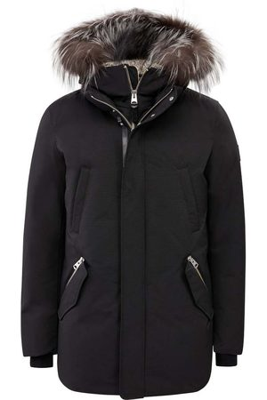 Mackage Edward-x Hip Length Down Winter Parka with Fur in Black-Silver
