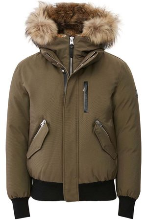 Mackage Dixon 2-in-1 Down Bomber with Hooded Bib and Natural Fur in Army