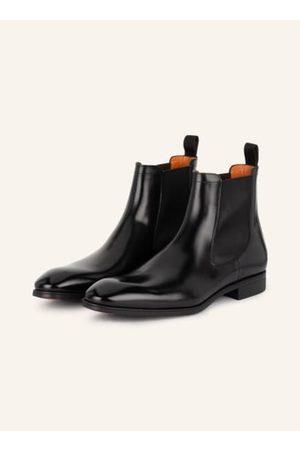 santoni Herren Chelsea Boots - Glattleder. Seitliche Stretch-Einsätze. Zuglasche am Schaft. Mandelförmige Vorderkappe. Blockabsatz. Made in Italy
