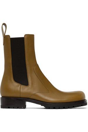 DRIES VAN NOTEN Yellow Leather Chelsea Boots