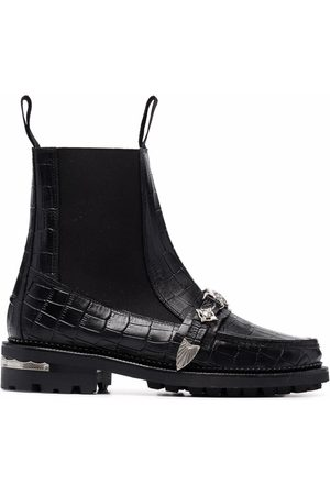 TOGA PULLA Damen Stiefeletten - Embossed-crocodile effect leather ankle boots