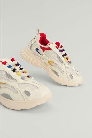 NA-KD Shoes Damen Sportschuhe - Sportschuhe Mit Farbendetail - Offwhite