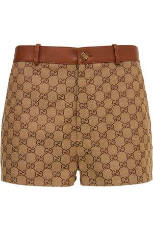Gucci Minishorts Aus Baumwolle Mit Logo Und Leder