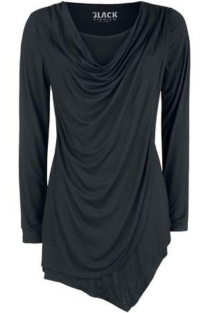 Black Premium by EMP Damen Longsleeves - Schwarzes Langarmshirt mit Wasserfallausschnitt Langarmshirt