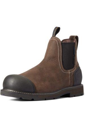 Ariat Herren Chelsea Boots - Men's Groundbreaker Chelsea XTR Waterproof Steel Toe Work Boots in Dark Brown