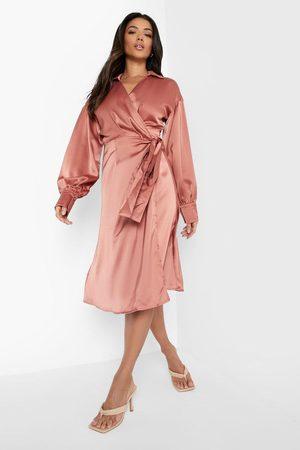Boohoo Damen Midikleider - Womens Satin Collared Wrap Midi Dress - - 34