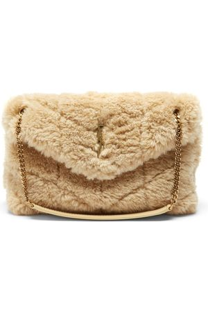 Saint Laurent Loulou Small Quilted Shearling Shoulder Bag