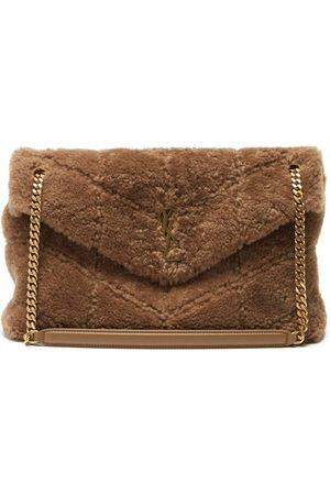 Saint Laurent Loulou Medium Quilted Shearling Shoulder Bag