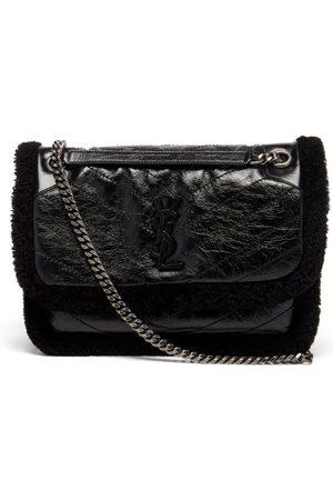 Saint Laurent Damen Geldbörsen & Etuis - Niki Shearling-trim Crinkled-leather Shoulder Bag