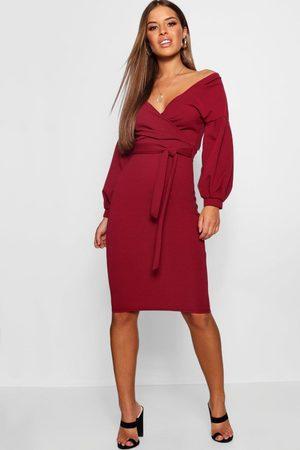 Boohoo Damen Midikleider - Womens Petite Recycled Bardot Wrap Midi Dress - - 30
