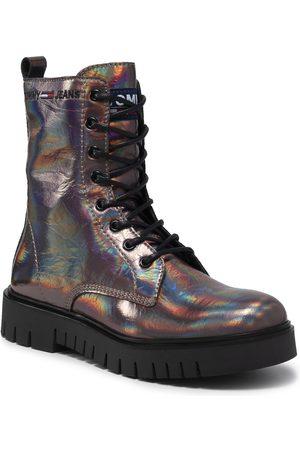 Tommy Hilfiger Damen Schnürstiefel - Iridescent Patent Lace Up Boot EN0EN01538 Dark Iridescent 0H7