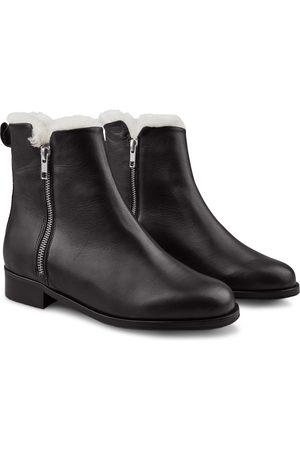 LaShoe Damen Stiefeletten - Bootie mit Reißverschlüssen und Lammfell 36