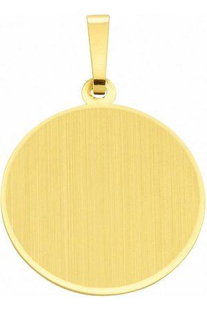Adelia's Damen Uhren - Kettenanhänger »585 Gold Gravurplatte Anhänger Ø 19,1 mm«, 585 Gold Goldschmuck für Damen