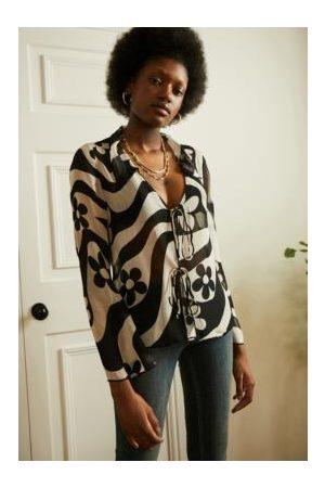 Urban Outfitters Damen Blusen - UO Black & White Matilda Blouse