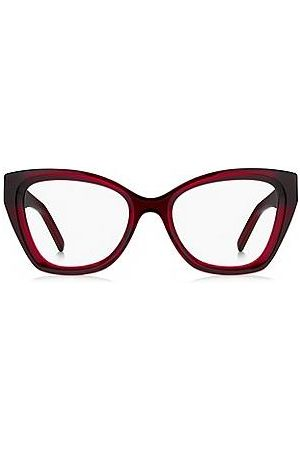HUGO BOSS Red-acetate optical frames with temple logos