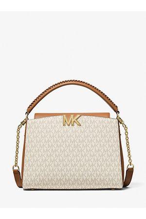 Michael Kors Damen Handtaschen - MK Henkeltasche Karlie Medium Mit Logo - Vanille/acorn - Michael Kors