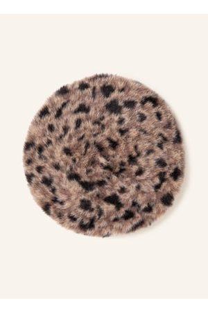 Loevenich Damen Mützen - Baskenmütze. Kunstfellbesatz. Leopardenmuster. Silberfarbene Logo-Applikation