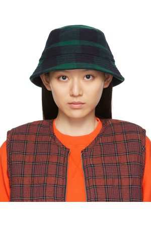 YMC Damen Hüte - Black & Green Check Bucket Hat